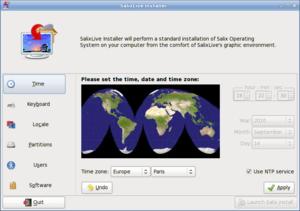 Salix OS - Live installer, time configuration.