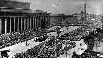 King's Regiment (Liverpool) - The inspection of the Liverpool Pals by Lord Kitchener in front of St George's Hall, Liverpool, 20 March 1915.