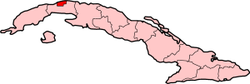 Position of Havana in Cuba