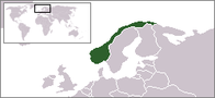 A map showing the location of Norway