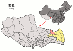 Location of Dêngqên County within Tibet