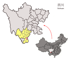 Location of Ningnan County (red) within Liangshan Prefecture (yellow) and Sichuan