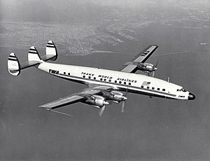 A Trans World Airlines L-1649A Starliner in flight.