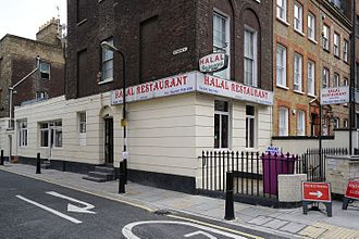 Ethnic groups in London - Halal Restaurant in the district of Whitechapel