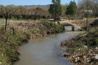 Acequia - Unlined portion of Los Chicos acequia, near Velarde, New Mexico