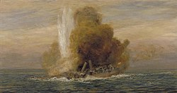 Loss of HMS Pathfinder, September 5th 1914 Art.IWMART5721.jpg