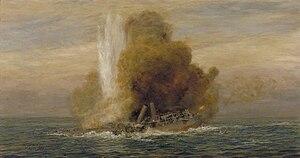 SM U-21 (Germany) - Image: Loss of HMS Pathfinder, September 5th 1914 Art.IWMART5721
