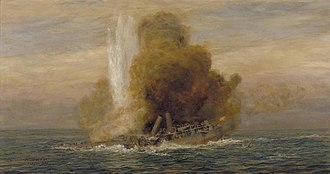 SM U-21 (Germany) - Image: Loss of HMS Pathfinder, September 5th 1914 Art.IWMART5721