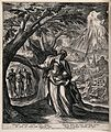 Lot's wife looks back at the flames pouring from Heaven upon Wellcome V0034240.jpg