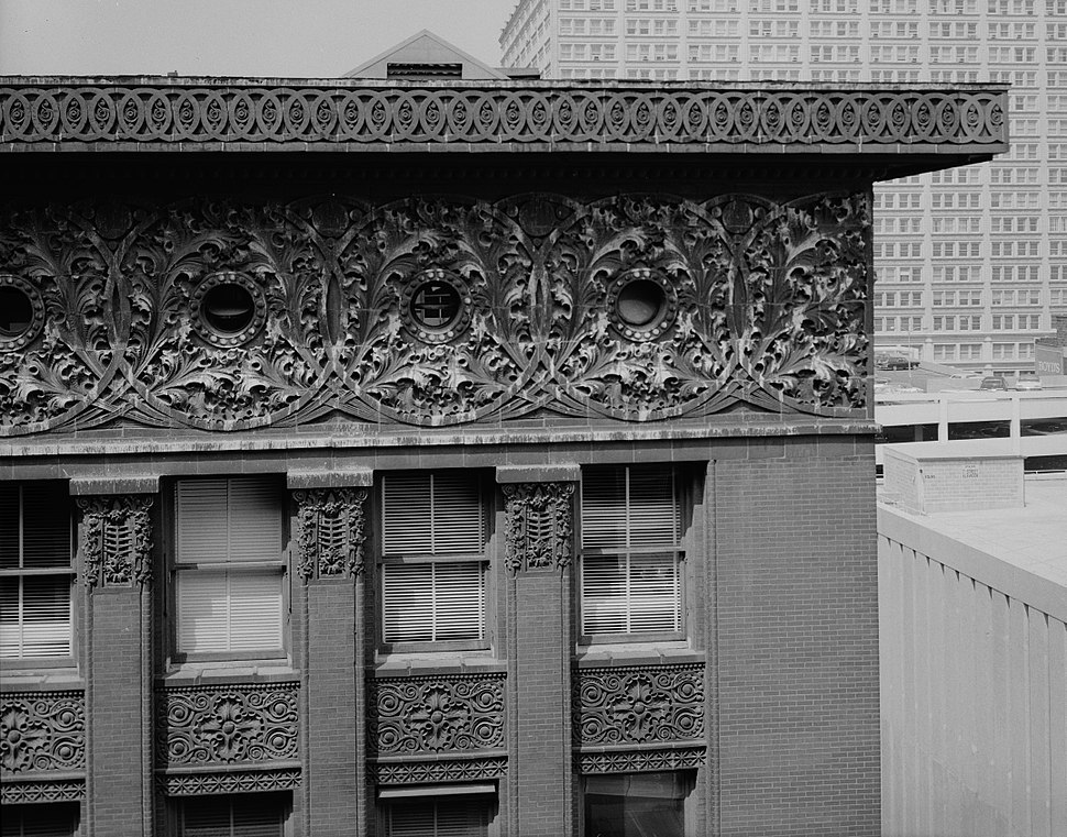 Louis Sullivan - cornice detail - Wainwright Building, Seventh + Chestnut Streets, Saint Louis, St. Louis City County, MO