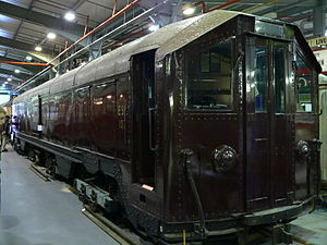 London Underground 1900 and 1903 Stock - Motor cars were converted into sleet locomotives, and one is preserved at the London Transport Museum