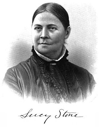 Lucy Stone League - Portrait and signature of Lucy Stone, as published in 1881 in History of Woman Suffrage, Volume II