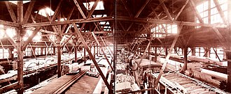 Merchants Despatch - Row upon row of reefers in various stages of construction fill MDT's car shop, circa 1905.