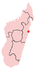 Location of Toamasina in Madagascar
