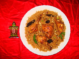 Qatari cuisine - Kabsa, also known as machboos, machbūs, or machbous