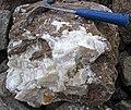 Macrocrystalline calcite in dolomitic limestone (apparently the Geneva Dolomite Member, Jeffersonville Limestone, Lower Devonian; St. Paul Stone Quarry, St. Paul, Indiana, USA) 1 (22021267215).jpg