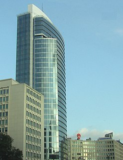 Madou Plaza Tower building in Brussels, Belgium
