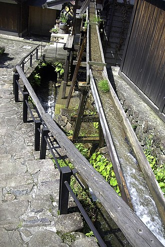 Sluice - A small wooden sluice in Magome, Japan, used to power a waterwheel