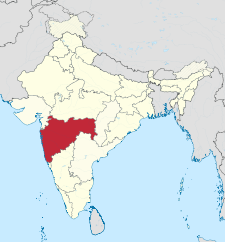 Map of India with the location of మహారాష్ట్ర highlighted.