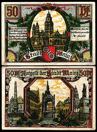 Notgeld - 50 Pfennig Notgeld issued by Mainz, 1921