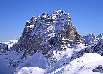 The Albanian Alps in the north enjoy a subarctic climate. Maja e Thate (2406 m) in the Albanian Alps.jpg