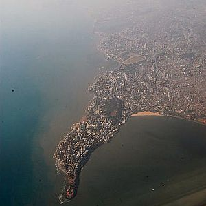 South Mumbai - Aerial view of Malabar Hill. The entire area of South Mumbai can be seen