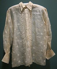 Man's shirt from Luzon, pineapple fiber, plain weave, embroidery, Honolulu Museum of Art.JPG