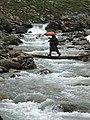 Man Crosses River - Sonmarg Glacier - Jammu & Kashmir - India (26749400072).jpg