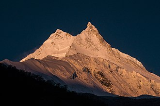 The morning view of Manaslu from Samagoan Village Manaslu (8,163m).jpg