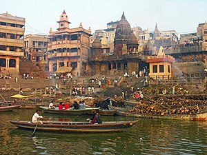 Manikarnika Ghat - Manikarnika Ghat in 2007. Baba Mashan Nath temple at the top.