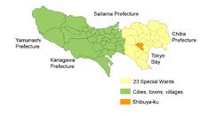 Location of Shibuya