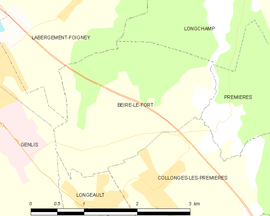 Mapa obce Beire-le-Fort