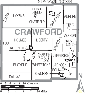 Map of Crawford County Ohio With Municipal and Township Labels.PNG