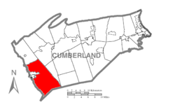 Map of Cumberland County, Pennsylvania highlighting Southampton Township