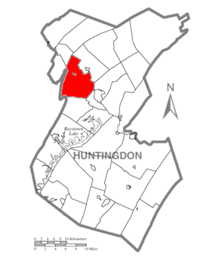 Porter Township, Huntingdon County, Pennsylvania - Image: Map of Huntingdon County, Pennsylvania Highlighting Porter Township