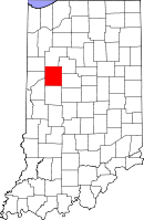 Map of Indiana highlighting Tippecanoe County