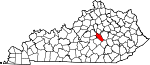 State map highlighting Garrard County
