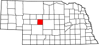 Map of Nebraska highlighting Logan County