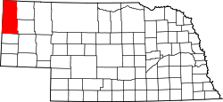 map of Nebraska highlighting Sioux County