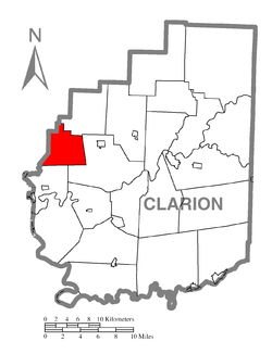 Map of Clarion County, Pennsylvania highlighting Salem Township