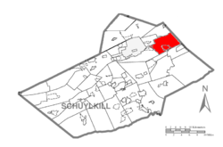 Map of Schuylkill County, Pennsylvania Highlighting Rush Township