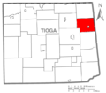 Map of Tioga County Pennsylvania Highlighting Rutland Township.PNG
