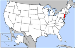 Map of USA highlighting New Jersey