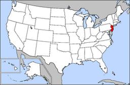 Kort over USA med New Jersey markeret