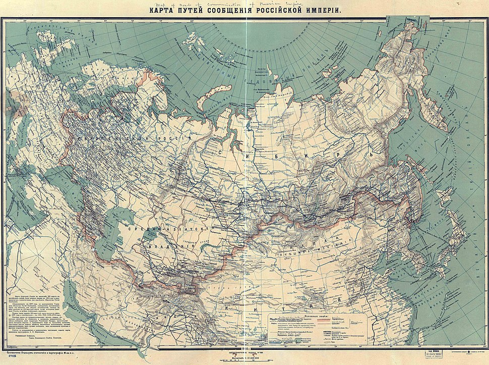 Map of russian railroads 1916