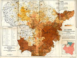 Republic of Central Lithuania - Map indicating the Polish population living in Central Lithuania, c. 1920. Includes both areas that had Polish majority as well as those with the minority.