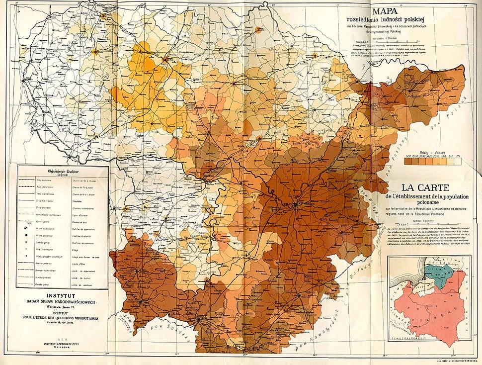 Mapa rozsiedlenia ludności polskiej na terenie Litwy w 1929