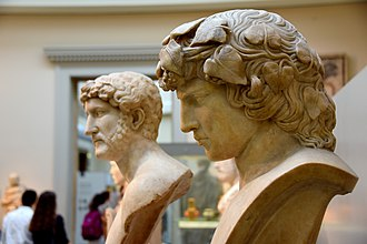Antinous - British Museum busts of Hadrian (left) and Antinous (right)