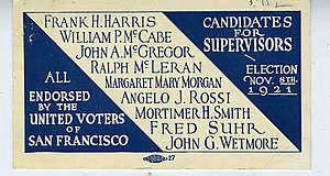 Angelo Joseph Rossi - Political campaign card of 1921 showing Board of Supervisor candidates, including Angelo J. Rossi