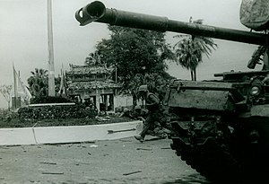 Battle of Huế - U.S. Marines clear buildings in southern Huế supported by tanks